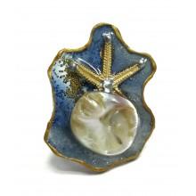 Кольцо из ювелирной смолы с перламутром