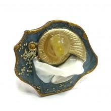 Кольцо из ювелирной смолы с Волоском Венеры и перламутром