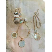Авторский комплект перламутровых украшений: серьги, браслет, подвеска