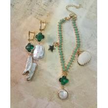 Авторский комплект украшений браслет и серьги