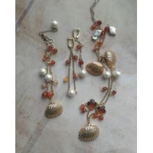 Авторский комплект с сердоликом: браслет, серьги, колье